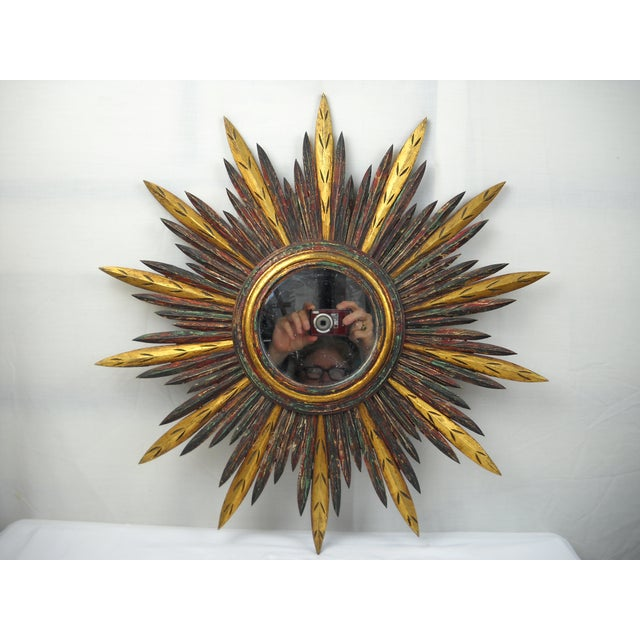 French French Carved Wood Starburst Mirror For Sale - Image 3 of 8