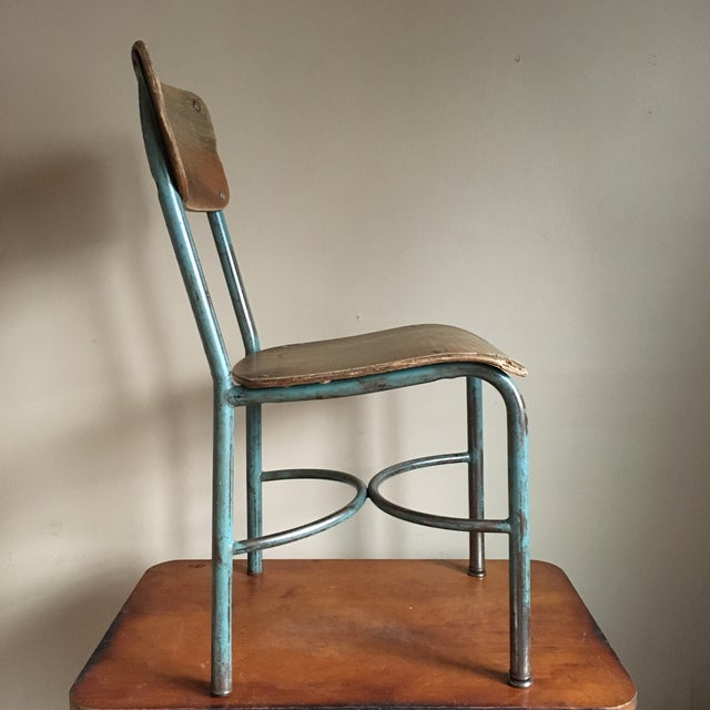 Industrial Vintage Wood & Metal School Chair For Sale In New York - Image 6 of 9