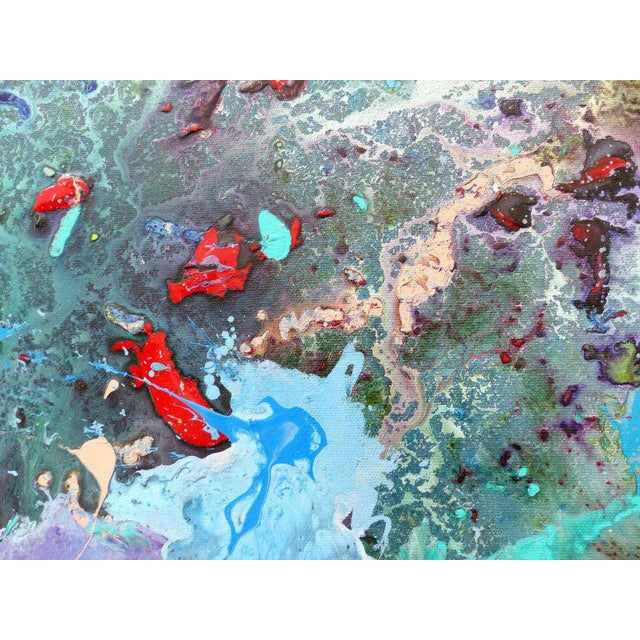 Canvas Diptych Abstract Paintings by Brazilian Artist Sandro War - A Pair For Sale - Image 7 of 11