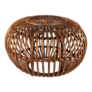 1950s Vintage Franco Albini Wooven Rattan Sika Design Ottoman For Sale