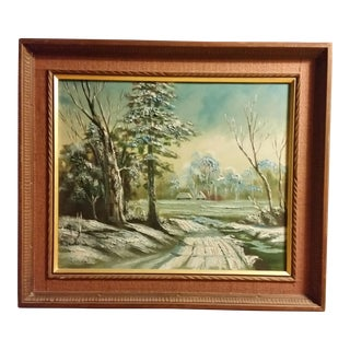 Mid-Century Signed Japanese Oil Painting For Sale