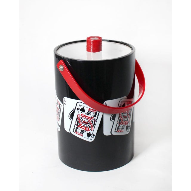 """Winning """"Blackjack"""" playing card themed ice bucket is a monumental 12.5"""" high without the articulating red handle. Vinyl..."""