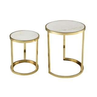 Modern White Marble and Gold Plated Round Nesting Table Set of Two For Sale