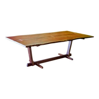 Rustic Walnut Slab Live Edge Dining Table For Sale