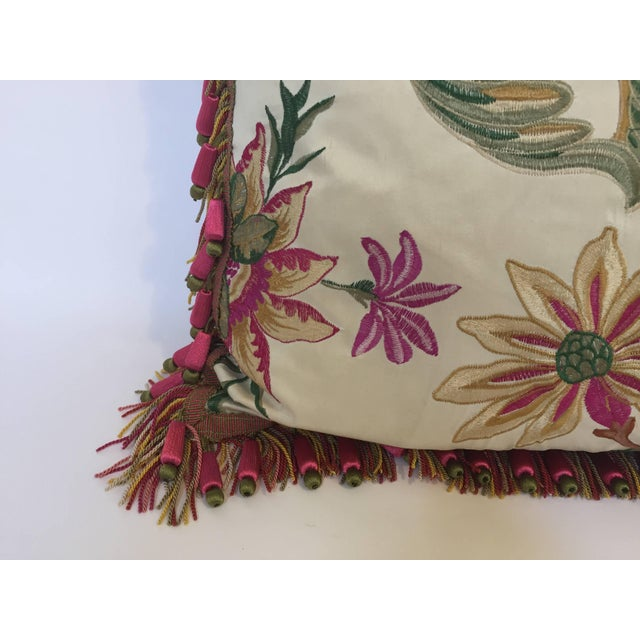 Vintage Colorful Silk Pillow With Spring Fresh Flowers Designs and Trim For Sale - Image 4 of 13