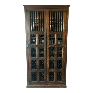 1900s Spanish Colonial Dark Wood China Cabinet For Sale