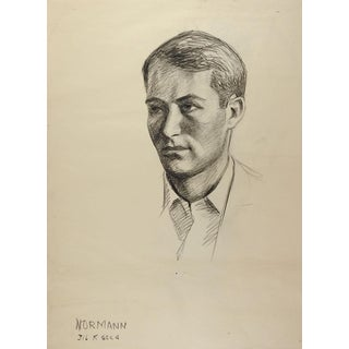 Drawing Male Portrait 1950's For Sale