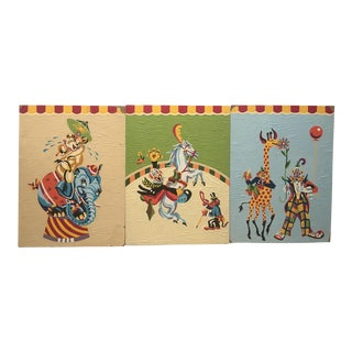 """Mid-Century Crazy Clown Circus Paint by Number Trio - 12"""" x 16"""" For Sale"""