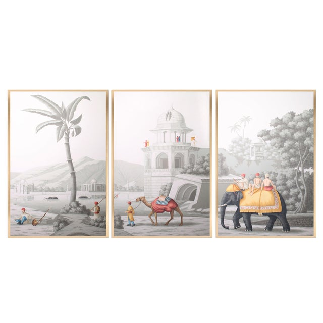 """Wood Jardins en Fleur """"Idyllic Scenes of Ancient India"""" Hand-Painted Grisaille Triptych – 3 Pieces For Sale - Image 7 of 7"""