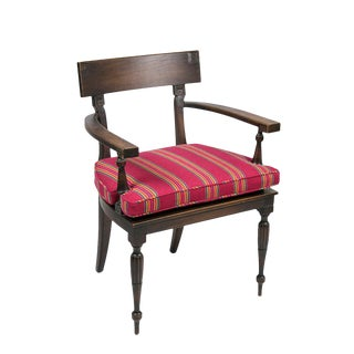 Greek Key Caned Seat Accent Chair For Sale