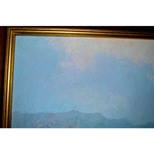 Blue Water Landscape Oil on Canvas Painting Plein Air Gold Frame For Sale In Los Angeles - Image 6 of 12