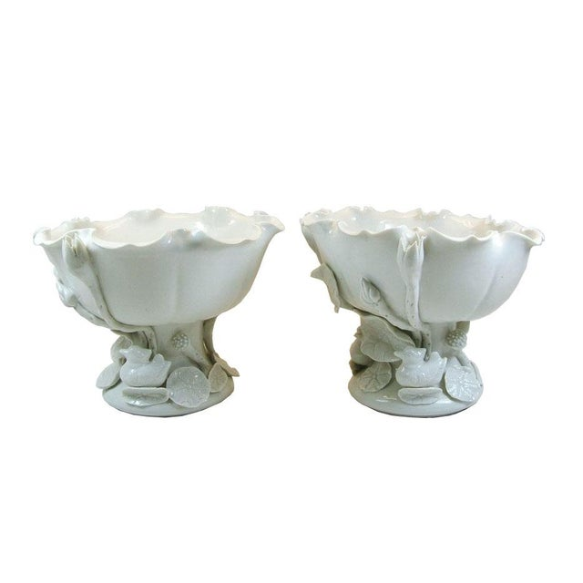 Vintage Chinese Blanc De Chine Porcelain 'Lotus' Offering Bowls- A Pair - Image 1 of 9