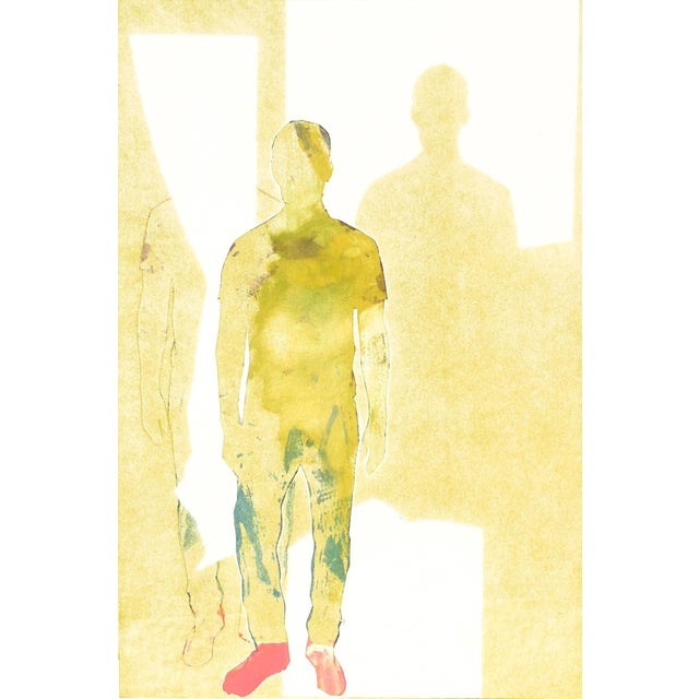 """Rob Delamater """"Those Pink Sneaks X"""" Figurative Monotype in Yellow, 2015 2015 For Sale"""