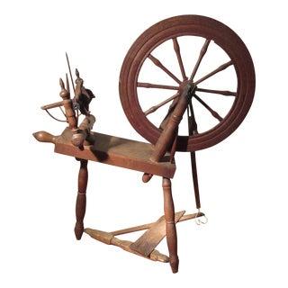1840s Antique B. Green Primitive 10 Spoke Spinning Wheel For Sale