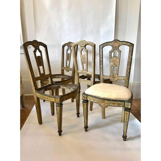 Four 18th Century Italian Painted Side Chairs For Sale - Image 9 of 9