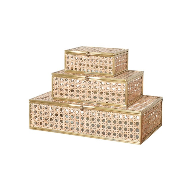 Contemporary Anaya Natural Cane Wicker Jewelry Decor Box - Large For Sale - Image 3 of 5