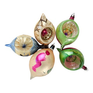 Vintage Hand Blown Glass Christmas Ornaments - Set of 5 For Sale