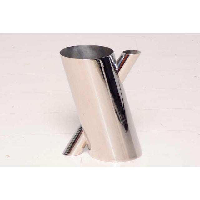For your consideration an Alessi, Mario Botta chrome-plated vase.