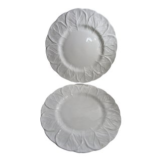 Coalport English Cabbage Leaf Countryware White Bone China Dinner Plates-a Pair For Sale