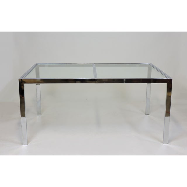 1970s Design Institute America Dia Mid-Century Modern Extendable Chrome Dining Table For Sale - Image 5 of 11