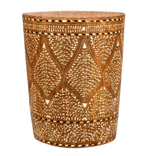 Charming Floral Bone Inlay Drum Table For Sale
