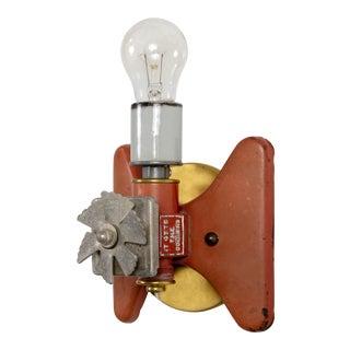 Red Vintage Sprinkler & Brass Wall Lamp For Sale