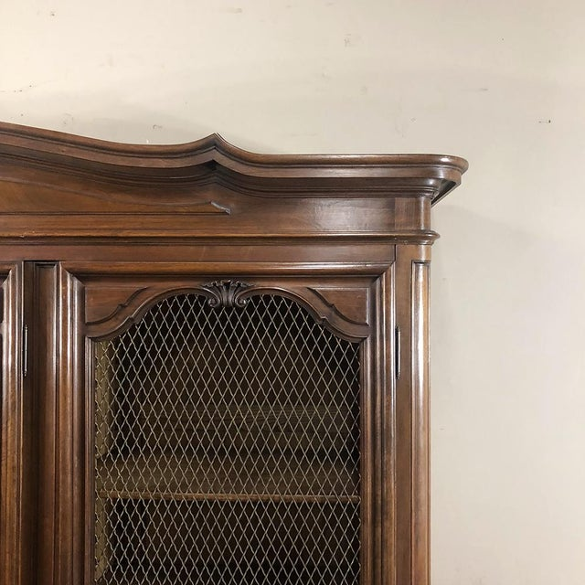 Wood Antique Italian Walnut Piemontese Triple Bookcase For Sale - Image 7 of 13