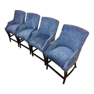 Modern Blue Polyester Barstools - Set of 4 For Sale