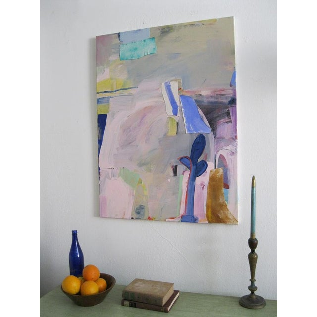 Untitled Grey and Pink Landscape Painting For Sale - Image 4 of 4
