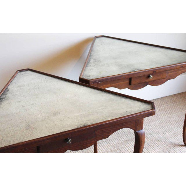 1940s Pair of Mirror Topped Triangular Tables For Sale - Image 5 of 11