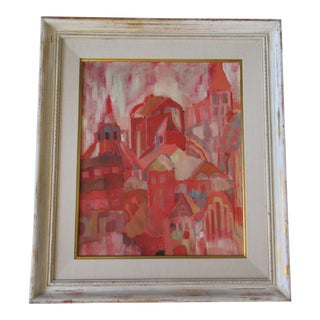 Mid Century Abstract Expressionist Painting Mystery Artist Cityscape Roof Tops For Sale