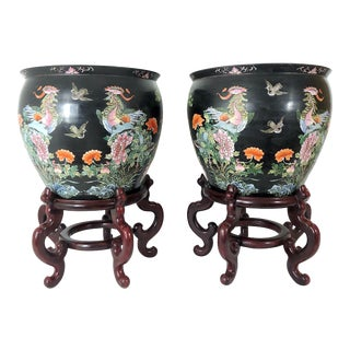 Early 20th Century Family Noire Ceramic Chinese Planters With Gold Fish & Phoenix Birds - a Pair For Sale