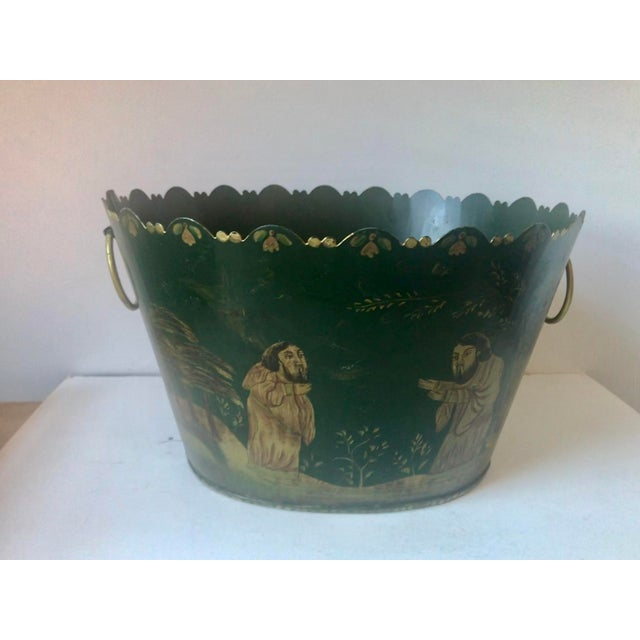 Hollywood Regency Painted Tole Cachet-Pot For Sale - Image 3 of 11