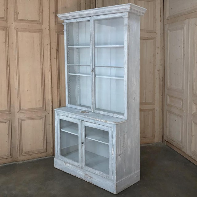Wood Antique Swedish Scraped Painted Bookcase For Sale - Image 7 of 13