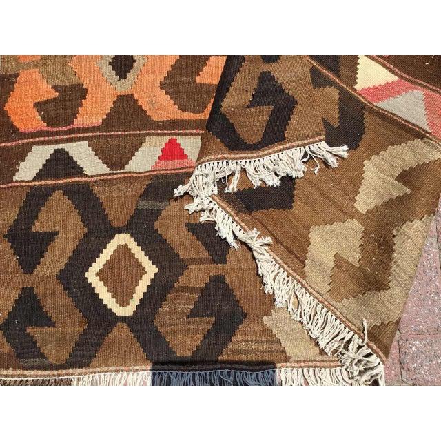 Vintage Brown Turkish Kilim Rug For Sale - Image 9 of 10