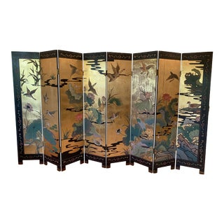 1950s Gold and Black 8 Panel Asian Coromandel Screen For Sale