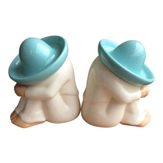 Vintage Ceramic Siesta Man Bookends - a Pair For Sale