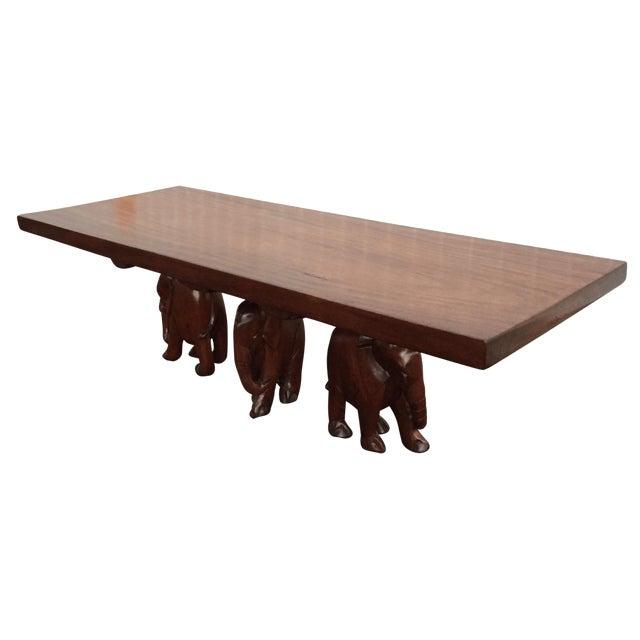 Vintage Carved Walnut Elephant Coffee Table - Image 1 of 9