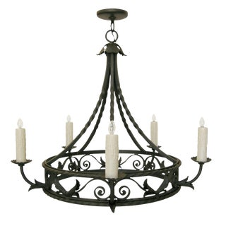 Superb Spanish Colonial Wrought Iron Chandelier by Randy Esada For Sale