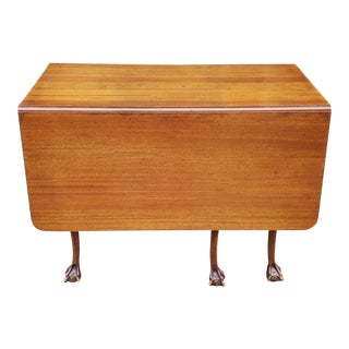 Antique Solid Mahogany 19th Century Chippendale Style Gate Leg Drop Leaf Table C1900 For Sale