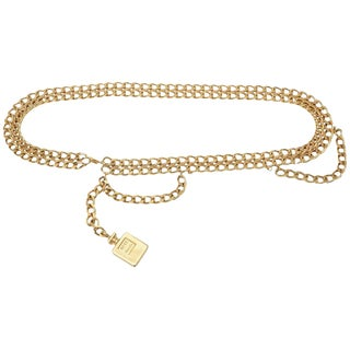 "Chanel Gold Plated Chain Link ""Coco Chanel"" Perfume Dangler Belt For Sale"