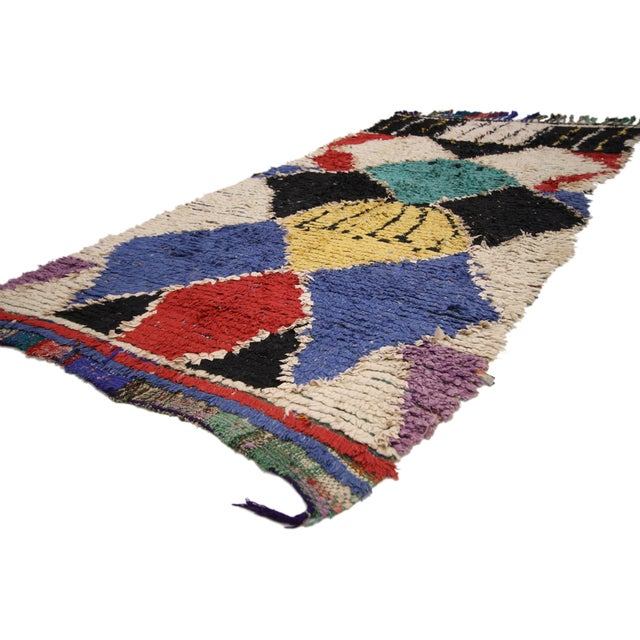 74811 Vintage Berber Moroccan Shag Hallway Runner with Post-Modern and Tribal Style. with its bold colors and graphic...