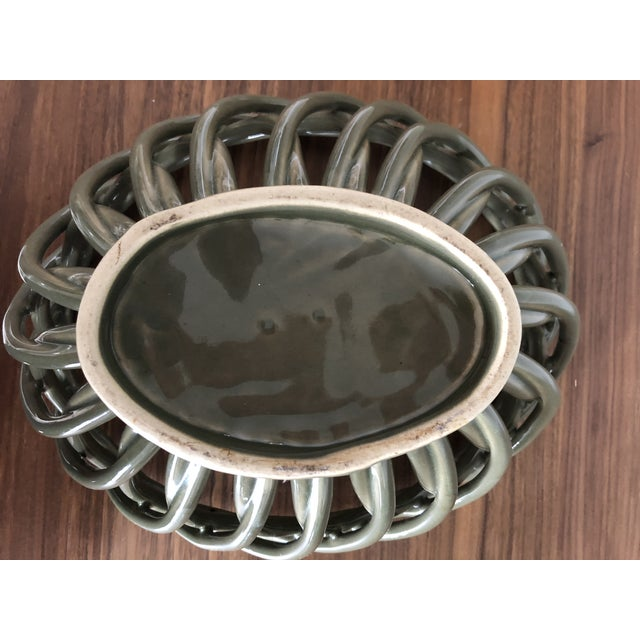 Traditional 1990s Ceramic Woven Army Green Bread Basket For Sale - Image 3 of 5