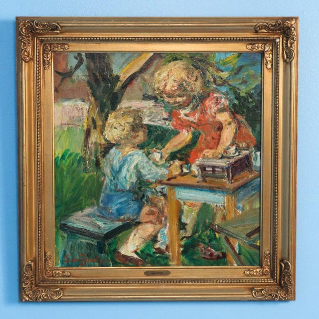 Forest Green Early 20th Century Antique Ludvig Jacobsen Boy and Girl Playing Tea Party Original Oil on Canvas Signed Painting For Sale - Image 8 of 8