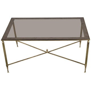 Brass and Glass Neoclassical Style Coffee Table, Attributed to Maison Jansen For Sale