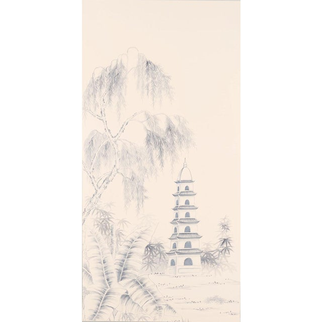 """Chinoiserie Jardins en Fleur """"Blue Pagoda Garden"""" Chinoiserie Hand-Painted Panel on Blush Silk Diptych by Simon Paul Scott in Burnished Gold Frame - a Pair For Sale - Image 3 of 7"""