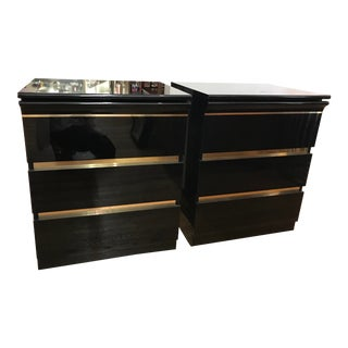 1970s Vintage Black Lacquer Lineaeffe Brass 2 Drawer Nightstands - a Pair For Sale