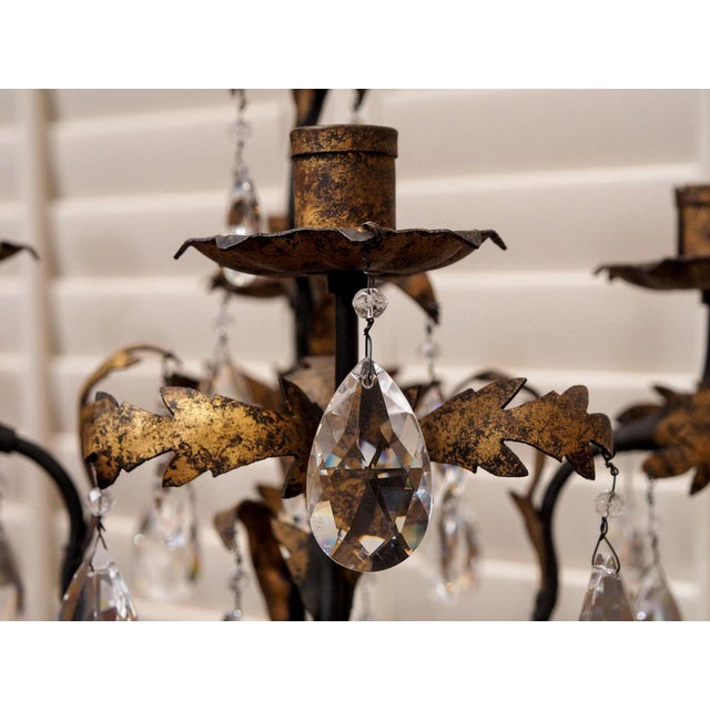 Gold Pair of Gilt Iron and Crystal Girandoles For Sale - Image 8 of 8