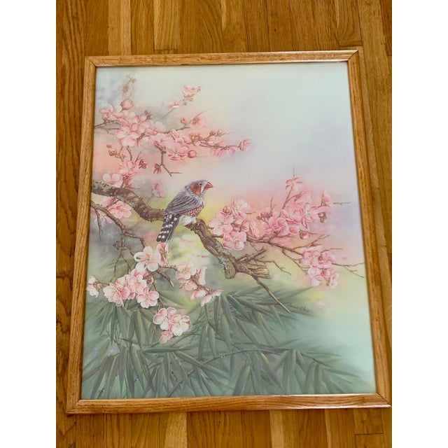 Boho Chic Large Vintage Watercolor Pastel Bird & Cherry Blossom Wall Art For Sale - Image 3 of 10