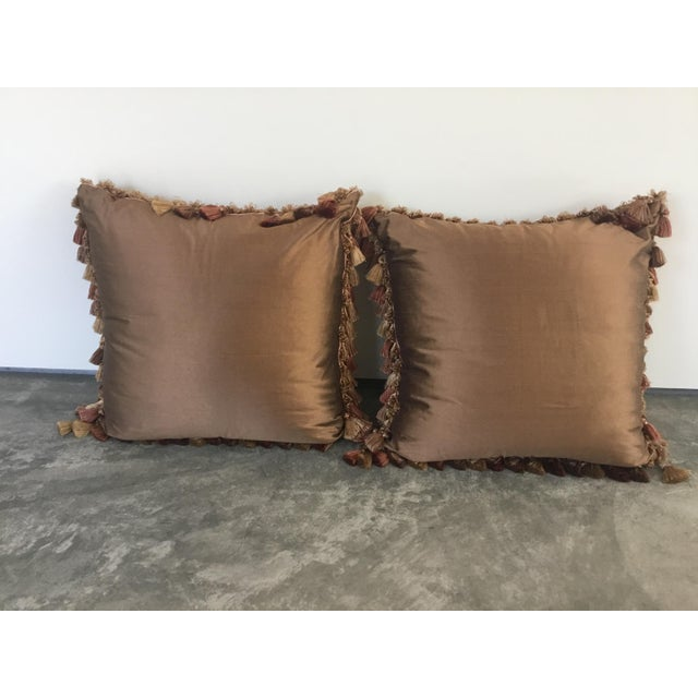 Embroidery Appliqué Silk Velvet Pillows - a Pair For Sale In Los Angeles - Image 6 of 9